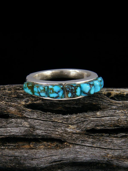 Kingman Turquoise Cobblestone Inlay Ring, Size 6