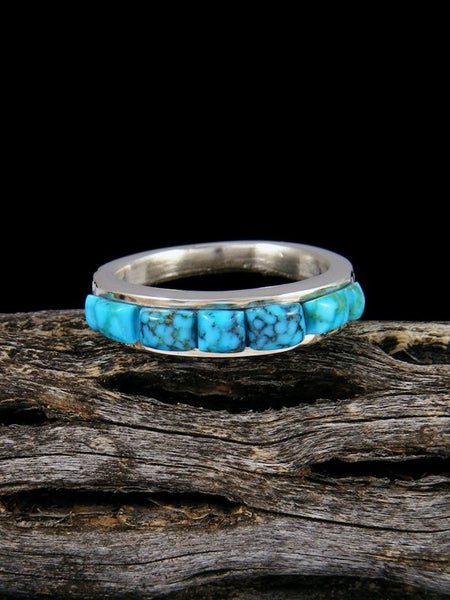 Kingman Turquoise Cobblestone Inlay Ring, Size 7 3/4