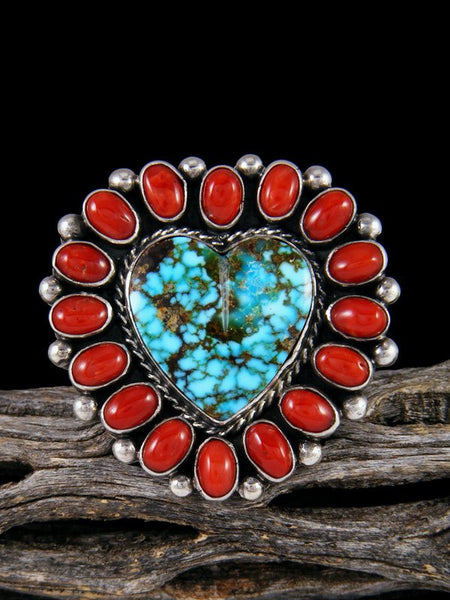 Kingman Turquoise Heart and Coral Ring, Size 8 1/2