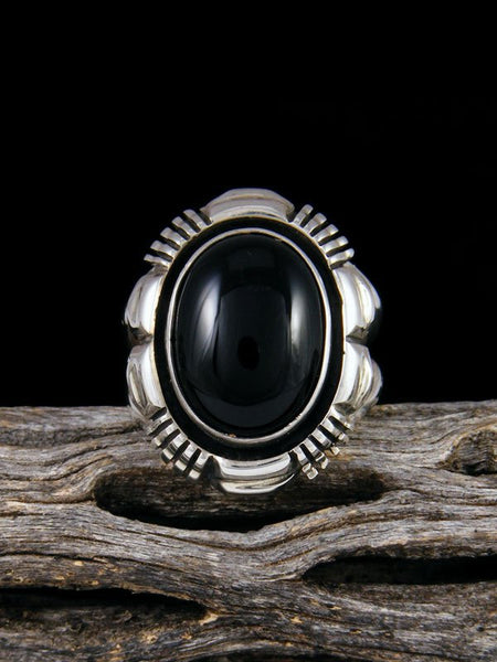 Black Onyx Sterling Silver Ring, Size 7.5