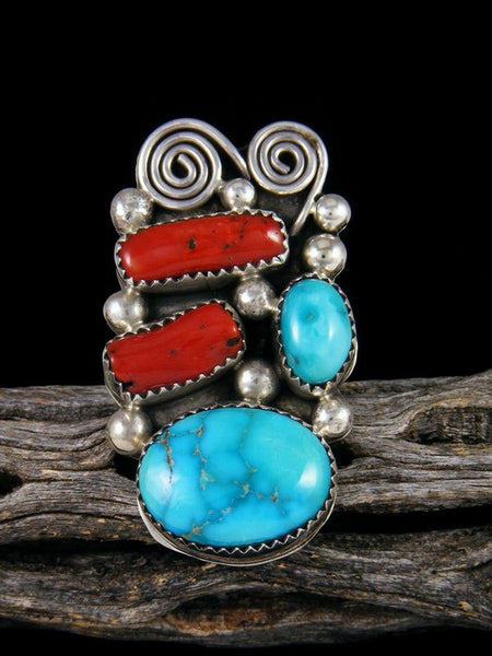 Coral and Turquoise Ring, Size 6 1/2