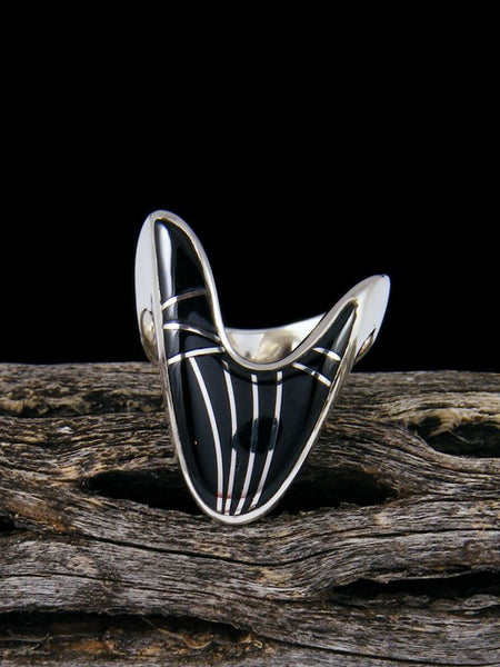 Navajo Onyx Inlay Ring, Size 5 1/2