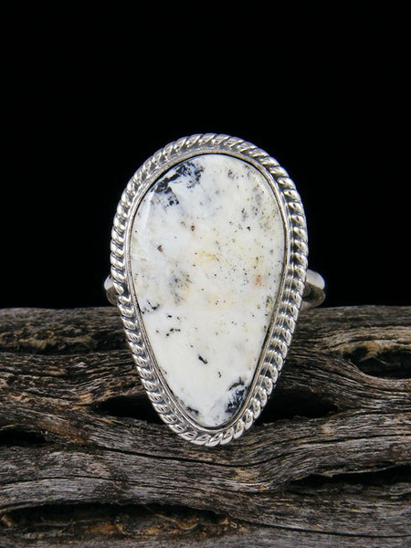Navajo White Buffalo Ring, Size 8