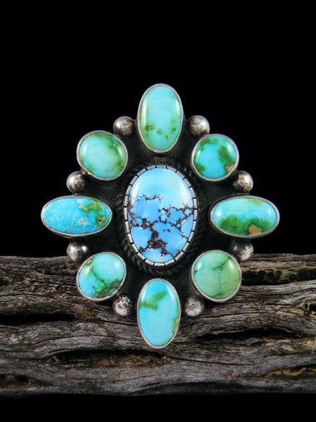 Navajo Turquoise Cluster Ring, Size 8 1/2