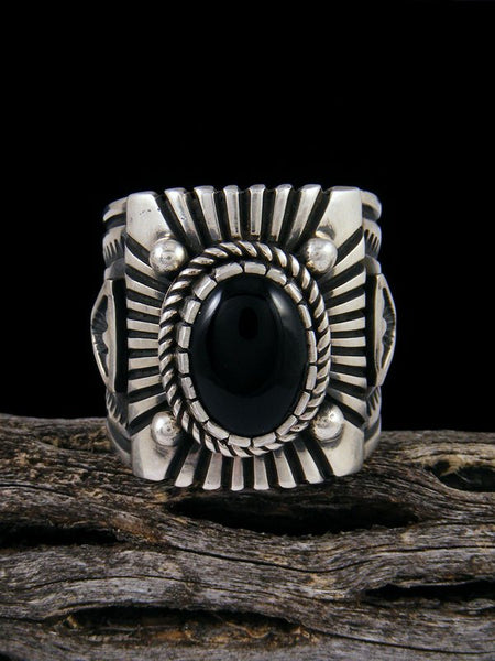 Native American Jewelry Onyx Ring, Size 12