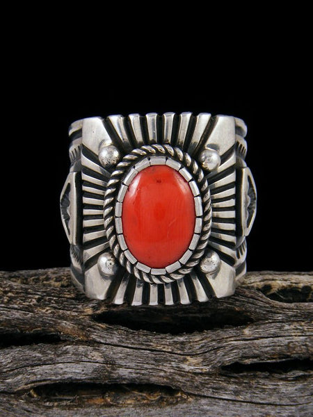 Native American Jewelry Coral Ring, Size 12