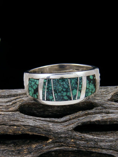 Turquoise Inlay Ring, Size 9 1/2
