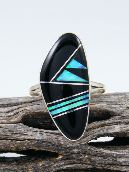 Onyx and Opalite Inlay Ring, Size 8
