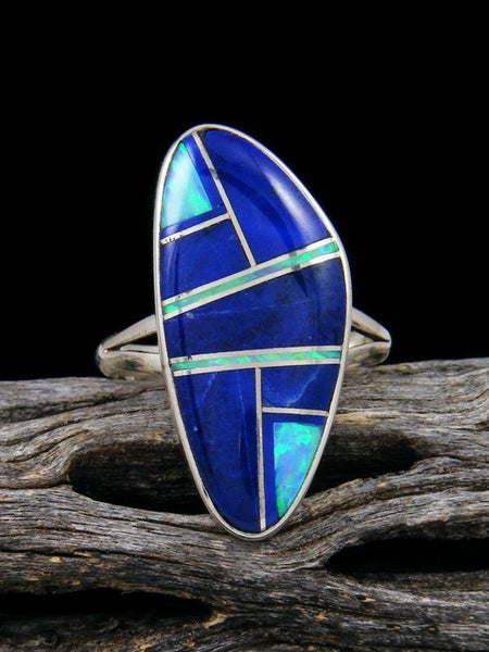 Lapis and Opalite Inlay Ring, Size 7 1/2