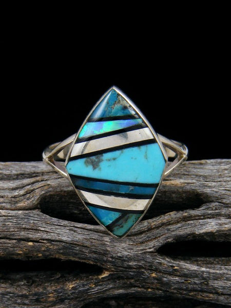 Turquoise and Opalite Inlay Ring, Size 9
