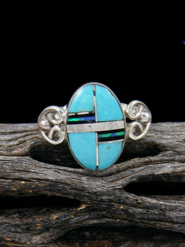 Turquoise and Onyx Inlay Ring, Size 6 1/2