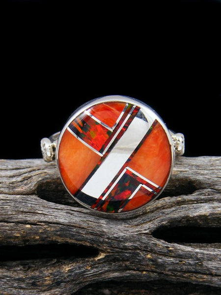 Spiny Oyster and Red Opal Inlay Ring, Size 7