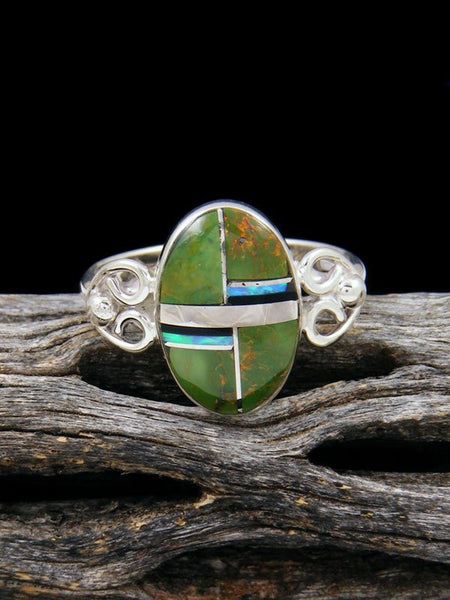 Turquoise and Onyx Inlay Ring, Size 8 1/2