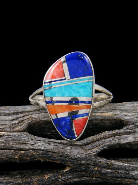 Spiny Oyster and Turquoise Inlay Ring, Size 8