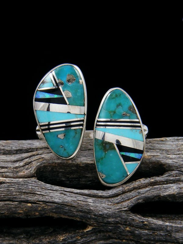 Adjustable Turquoise and Onyx Inlay Ring