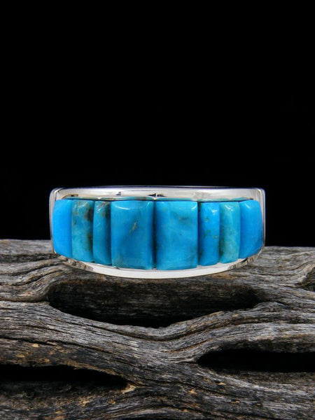 Kingman Turquoise Cornrow Inlay Ring, Size 9