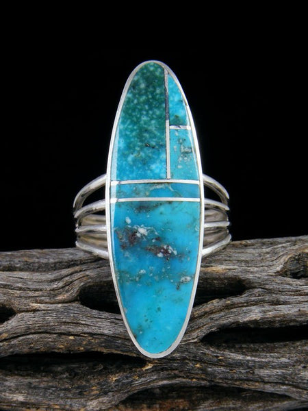Navajo Turquoise Inlay Sterling Silver Ring, Size 10