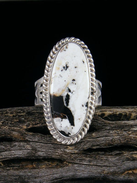 Native American White Buffalo Ring, Size 9