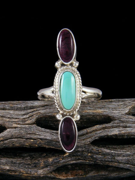 Navajo Turquoise and Spiny Oyster Ring Size 6 1/2