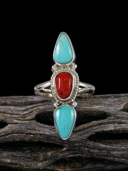 Navajo Turquoise and Coral Ring Size 6 3/4