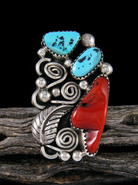Coral and Turquoise Ring, Size 7 1/2