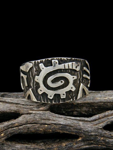 Navajo Overlay Sterling Silver Ring, Size 8
