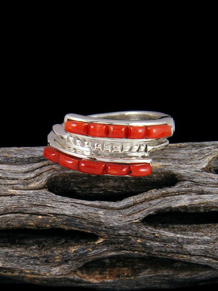 Natural Coral Inlay Ring, Size 7