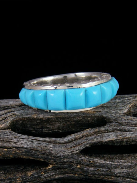 Turquoise Cobblestone Inlay Ring, Size 7