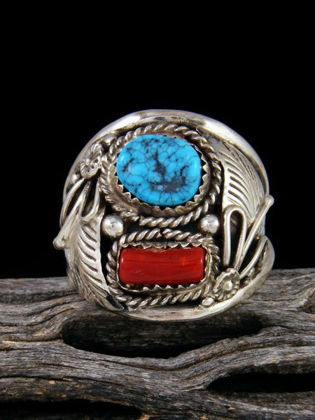 Coral and Turquoise Ring, Size 12