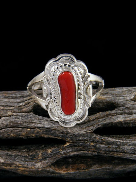 Native American Coral Ring, Size 8 3/4