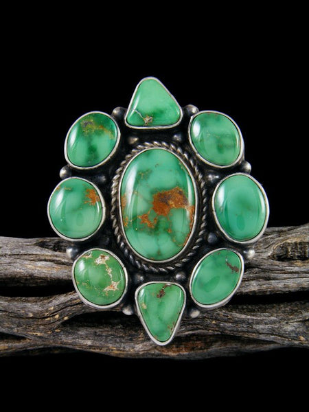 Kingman Turquoise Cluster Adjustable Ring, Size 9+