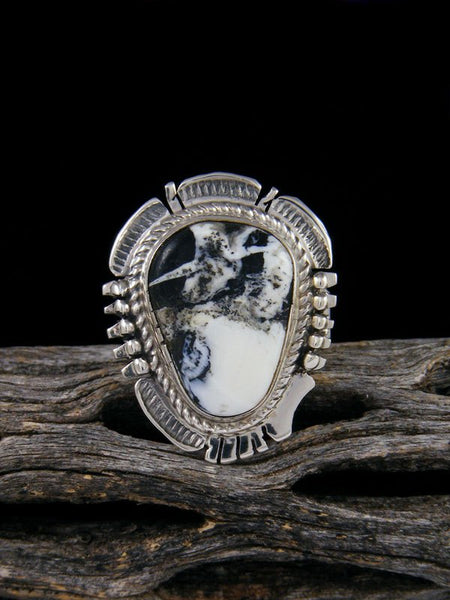 Native American White Buffalo Ring, Size 6 3/4
