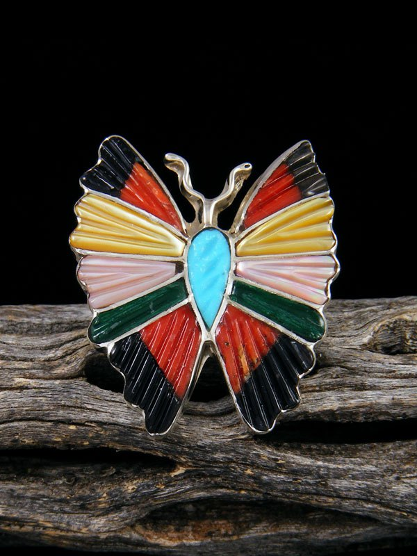 Native American Sterling Silver Zuni Inlay Butterfly Ring, Size 7