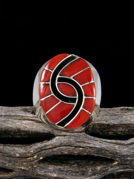 Coral Inlay Ring, Size 10