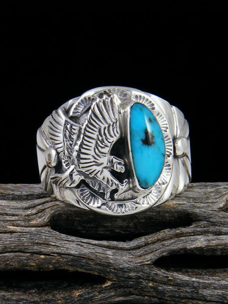 Sleeping Beauty Turquoise Eagle Ring, Size 11 1/2