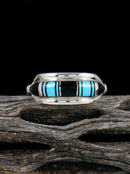 Turquoise and Onyx Inlay Ring, Size 7