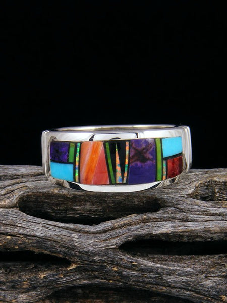Turquoise and Spiny Oyster Inlay Ring Size 9 1/2