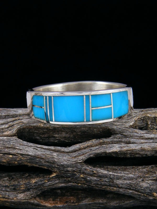 Turquoise Inlay Ring, Size 12 1/2