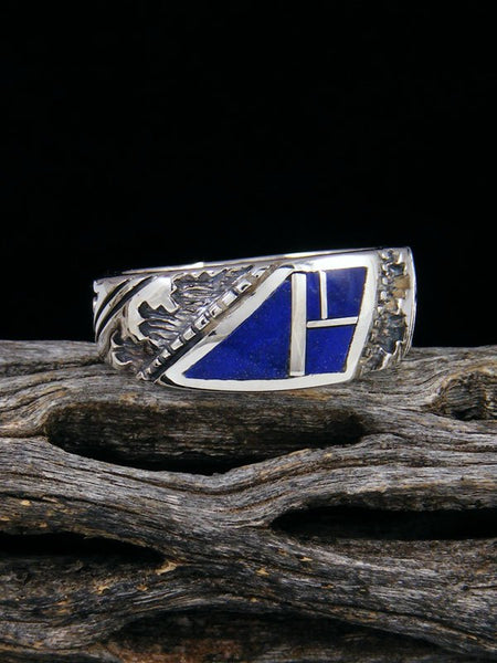 Lapis Inlay Ring, Size 8 1/2