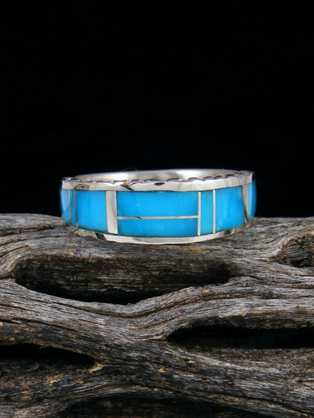 Turquoise Inlay Ring, Size 6 1/2
