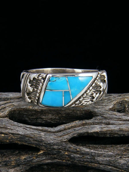 Turquoise Inlay Ring, Size 9