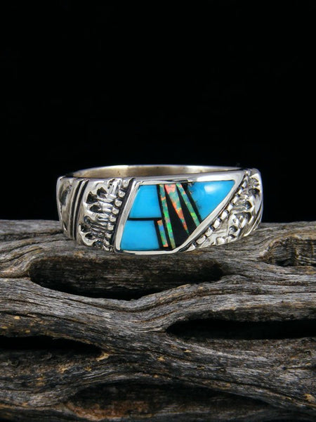Turquoise and Opalite Inlay Ring, Size 10