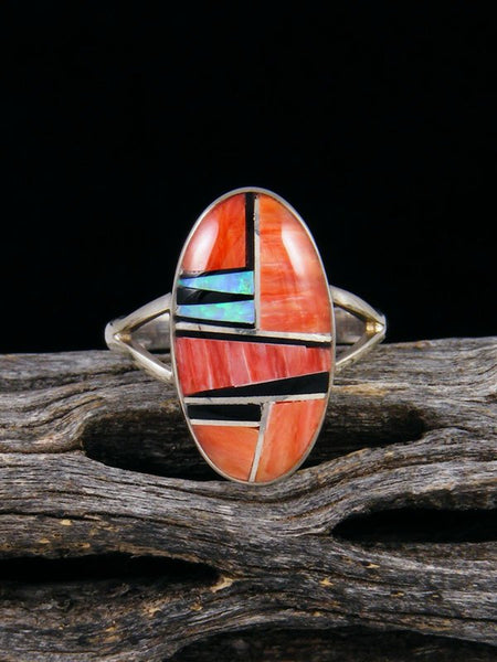 Spiny Oyster and Onyx Inlay Ring, Size 6 1/2