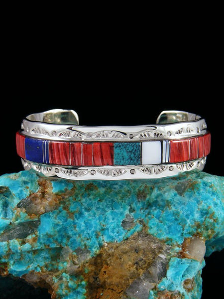Native American Indian Inlay Turquoise and Spiny Oyster Bracelet