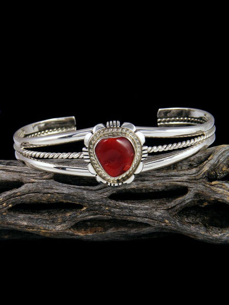 Native American Deep Red Coral Cuff Bracelet