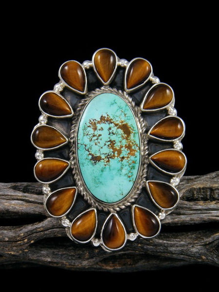 Tiger Eye and Turquoise Cluster Ring, Size 7 1/2 +