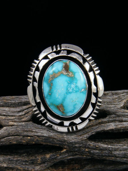 Native American Sonoran Rose Turquoise Ring, Size 6