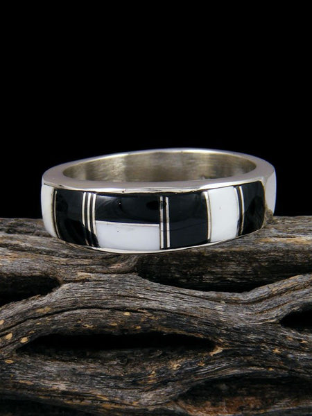 White Buffalo Inlay Ring, Size 13