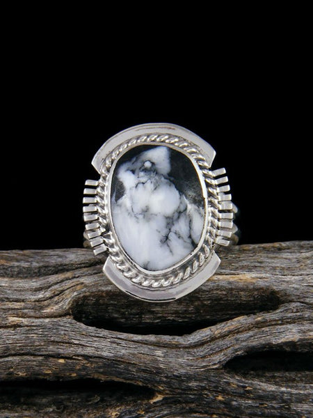 Native American White Buffalo Ring, Size 6