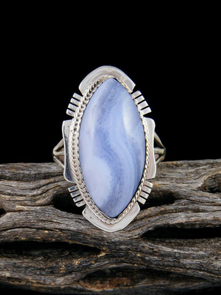 Blue Lace Agate Ring, Size 9 1/2